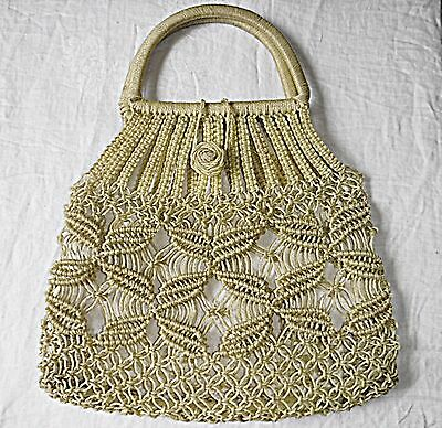 Vintage  50S-60S Macrame Pale Lemon Plastic Shopper Handbag Chic Fun