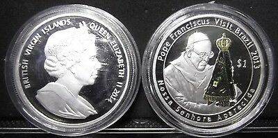 British Virgin Islands 2014 1 Dollar Pope Francis 2013 Brazil NSra Aparecida UNC