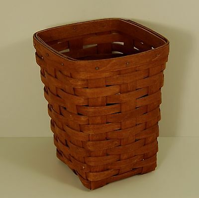 Longaberger Square Tall Basket 1989 signed BB , Hand woven in U.S.A,