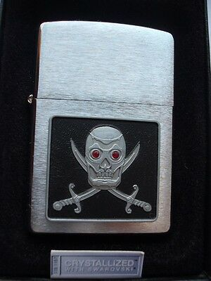 Zippo Piercing Eyed Pirate Red Crystallized Swarovski Eyes Lighter Skull Sword