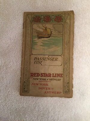 Red Star Line Ss Finland Passenger List May 13-23 1905 Ny To Antwerp  Very Rare