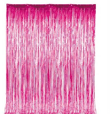 Pink Metallic Fringe Curtain Party Room Decor 3' x 8'