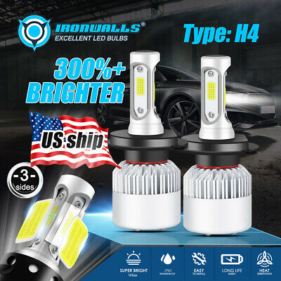 Ironwalls Hi-Lo H4 HB2 9003 CREE LED Headlight Bulbs 1400W 210000LM 6500K Lamp