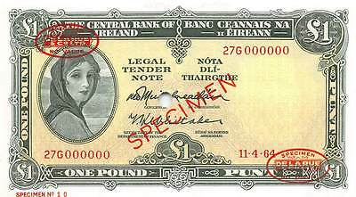 IRELAND REPUBLIC 1 POUND 1964, SPECIMEN P64as, UNC