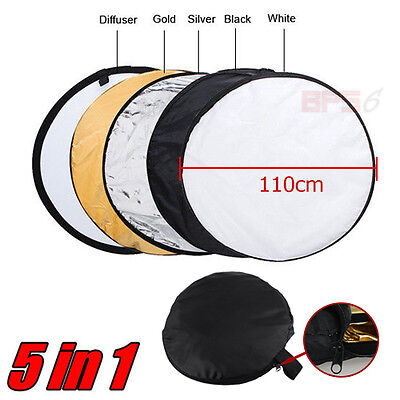 """AU 43"""" 110cm 5-in-1 Photo Photography Light Mulit Collapsible Disc Reflector"""