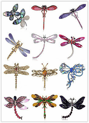 Vintage Coloful Rhinstone Crystal Dragonfly Brooch Party Cake Decoration Gift US