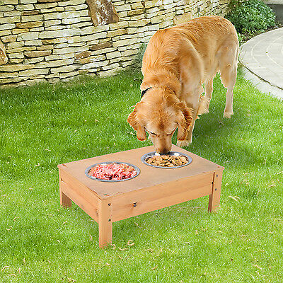 PawHut Elevated Wood Double Dog Bowl Feeder Raised Stand Pet Food Water Tray