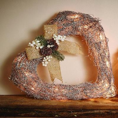 40cm Pre Lit Silver Heart Door Wreath Christmas Wreath with White Lights
