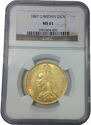 LANZ Victoria 2 Pound Double Sovereign 1887 London George Gold NGC MS61 @IVR7050