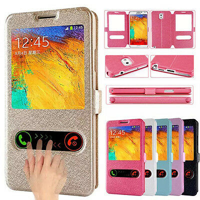 For Samsung Galaxy Flip Case Cover Stand Pouch Smart Window Luxury Slim Leather