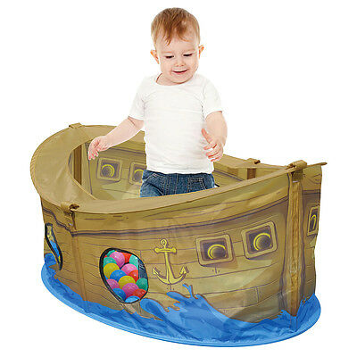 Charles Bentley Kid's Pirate Boat Ball Pit Pla Tent 50 Multi Coloured Balls