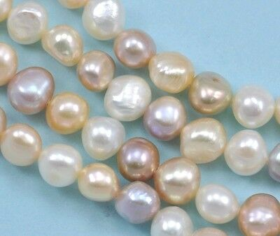 9-10mm Mixed Colours White Pink Peach Mauve Baroque Nugget Freshwater Pearls A
