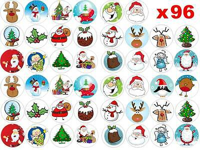 96 x 3cm Father Christmas Xmas Mixed Edible Fairy Cup Cake Toppers Decorations