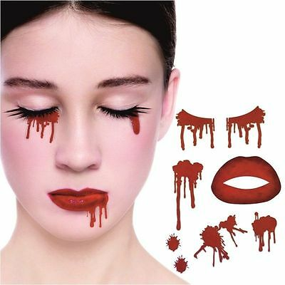 Vampire Face Temporary Tattoo Kit Adults Kids Blood Halloween Party Fancy Dress