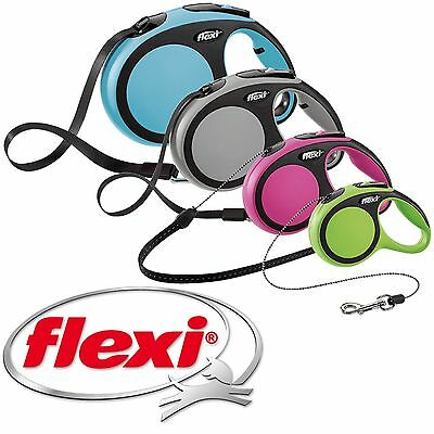 FLEXI New Comfort Retractable Dog Extending Lead Cord & Tape Soft Grip Handle