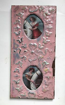 Vintage 1890's CEILING TIN Picture Frame Double 3 x 3.5 Metal Oval Pink Blue A4