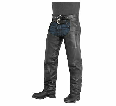 Protech Black Leather Motorcycle Chaps Size Med M Medium Made In USA