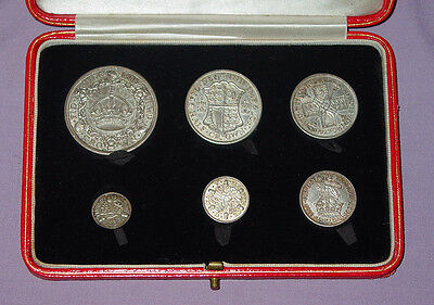 1927 ROYAL MINT KING GEORGE V PROOF SET COINS - Wreath Crown to 3d