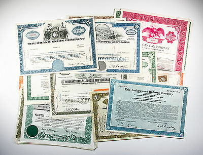 50 different old USA paper stocks & bonds certificates nice used great selection