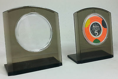 Set of (2) Smoke Plastic Chip Stands with (2) 39 mm Air Tites for Casino Chips *
