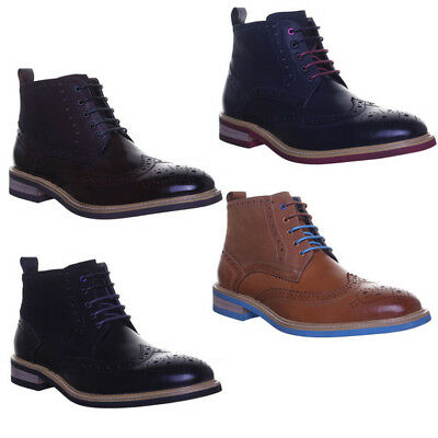 Justin Reece Mens Coloured Sole Lace Up Brogue Boots Size UK 6 - 12