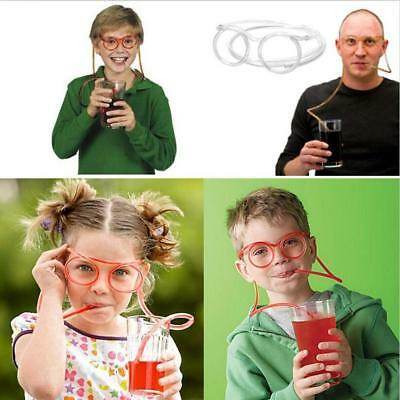 1x Clear Funny Flexible Soft Glasses Straw Glasses Drinking Tube Fun Drinking Q