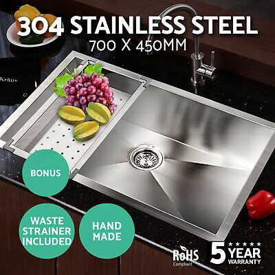 Cefito 700x450mm 304 Stainless Steel Single Sink Under/Topmount Kitchen Colander
