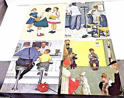 4 Norman Rockwell Lithograph  - Saturday Evening Post Subscription Free Gift