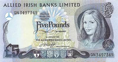 IRELAND NORTHERN 5 POUNDS ALLIED BANK 1982, P2a, UNC