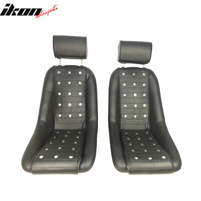 2X Black PU Faux Leather Bucket Classic Seat With Sliders - Mid-Sized