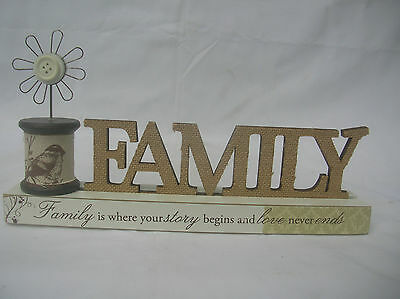 Wooden Family Word Block With Spindle