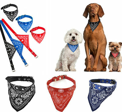 Pet Dog Cat Neck Scarf Bandana with Leather Collar Neckerchief Adjustable CA LD7