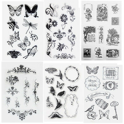 Flower Transparent Seals Clear Rubber Stamp Sheet Cling Scrapbooking Card DIY