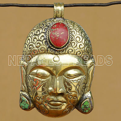 PD1348 Nepalese Handmade Brass Coral Turquoise Buddha Head Pendant Nepal