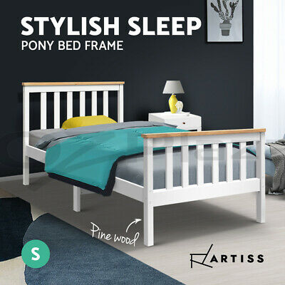 NEW Wooden Bed Frame PONY Single Pine Wood Kid Children Adult Timber Slat