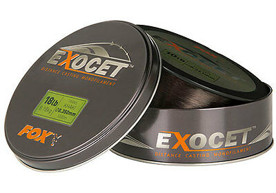 Fox NEW Carp Fishing Exocet Mono Mainline Trans Khaki 1000m *All Types*