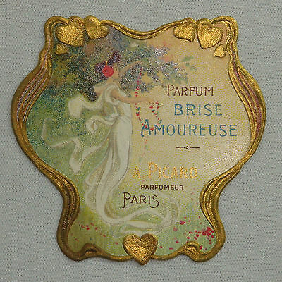 Etiquette De Parfum Brise Amoureuse Gaufree Doree A Picard Paris Old Label