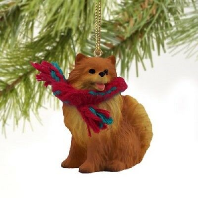 POMERANIAN dog HAND PAINTED ORNAMENT Resin Figurine CHRISTMAS Holiday Red Puppy