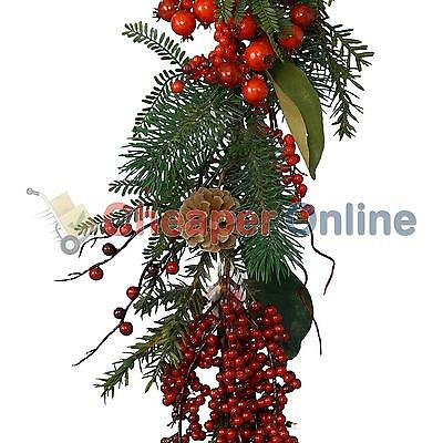 180cm Luxury Christmas Garland with Berries & Pine Cones - Plain