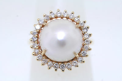 14k Yellow Gold 12mm Mobe Pearl & .52ct Round Diamond Halo Cocktail Ring Sz 6.25