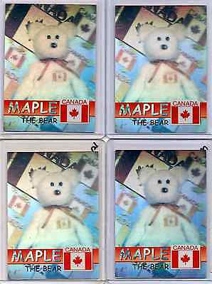 (4) Maple Rare Bear Holographics Beanie Babies Cards - Gold Silver Green Blue Ty