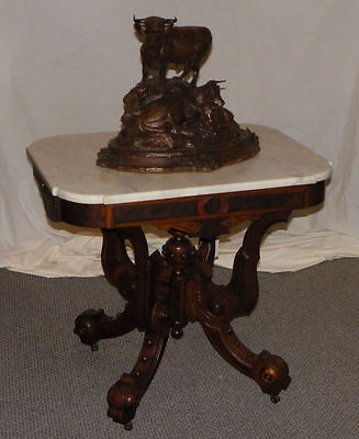 Antique Victorian Walnut Marble top parlor or Small Table
