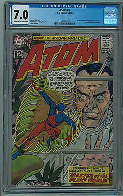 The Atom #1 Cgc 7.0 Hard To Find In Higher Grade Off-White To White Pages Silver