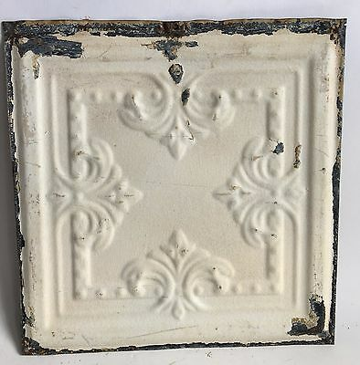 "12"" x 12"" Antique Tin Ceiling Tile *SEE OUR SALVAGE VIDEOS* Ivory C2 Metal"