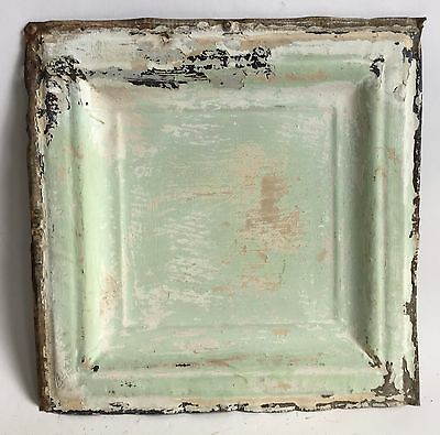 "12"" x 12"" Antique Tin Ceiling Tile *SEE OUR SALVAGE VIDEOS* Green C3 Metal"