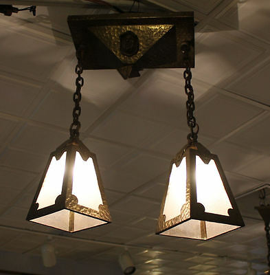 Antique Mission Arts & Crafts Brass Hanging Light Fixture – 2 bulbs