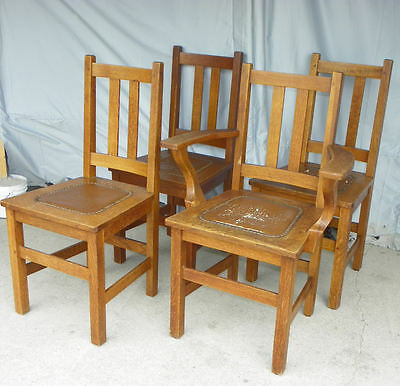 Antique Set of four Matching Mission Oak Chairs made by Limbert Arts & Craft
