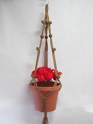 MACRAME PLANT HANGER 35in SIMPLE 3-ARM BUTTON KNOTS 6mm with Beads CHOOSE COLOR
