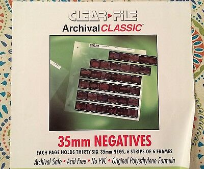 Clear File Archival Classic 35mm Negative Storage Pages, 6-strips, 25 pack