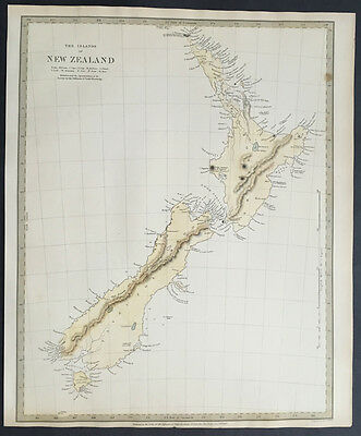 1838 SDUK Large Antique Map of New Zealand - 1st edition